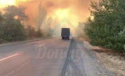 Из-за пожара в полях в «ДНР» перекрыли дорогу под Шахтерском (Видео)