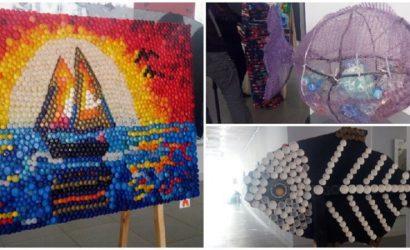 Море без мусора: На Донетчине открыли выставку картин из пластиковых крышек (Фото)