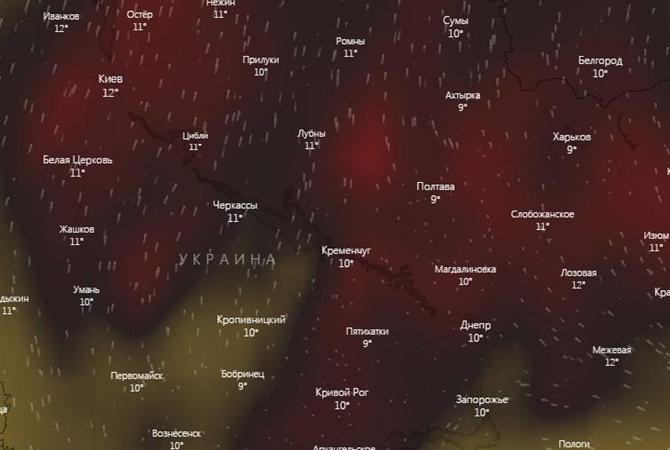 Над городами Украины зафиксирован повышенный уровень угарного газа