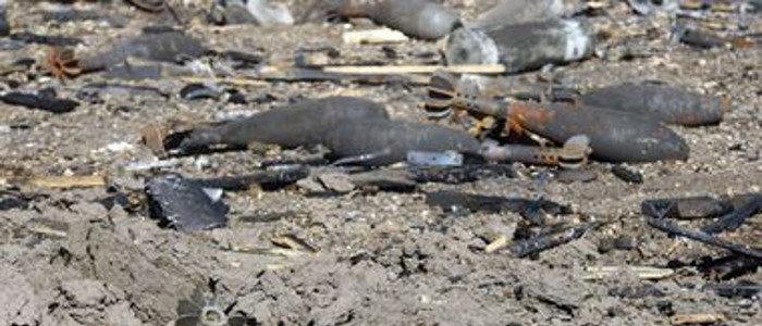 У дороги у Верхнешироковского лежат неразорвавшаяся мина и реактивная граната