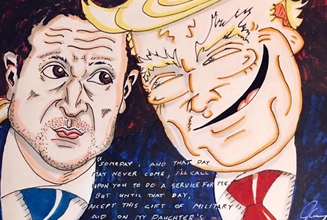 Комик Джим Керри нарисовал карикатуру на Зеленского и Трампа