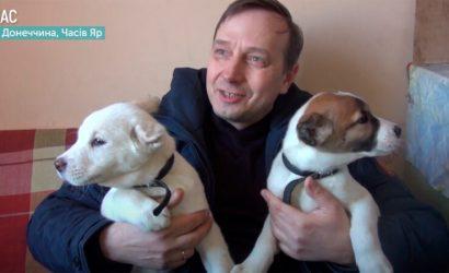 Для пожилых подопечных: В хоспис на Донетчине передали щенков (Фото, видео)