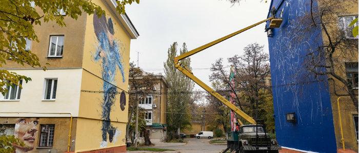 На улице муралов в Краматорске создают новые арт-объекты (Фото)