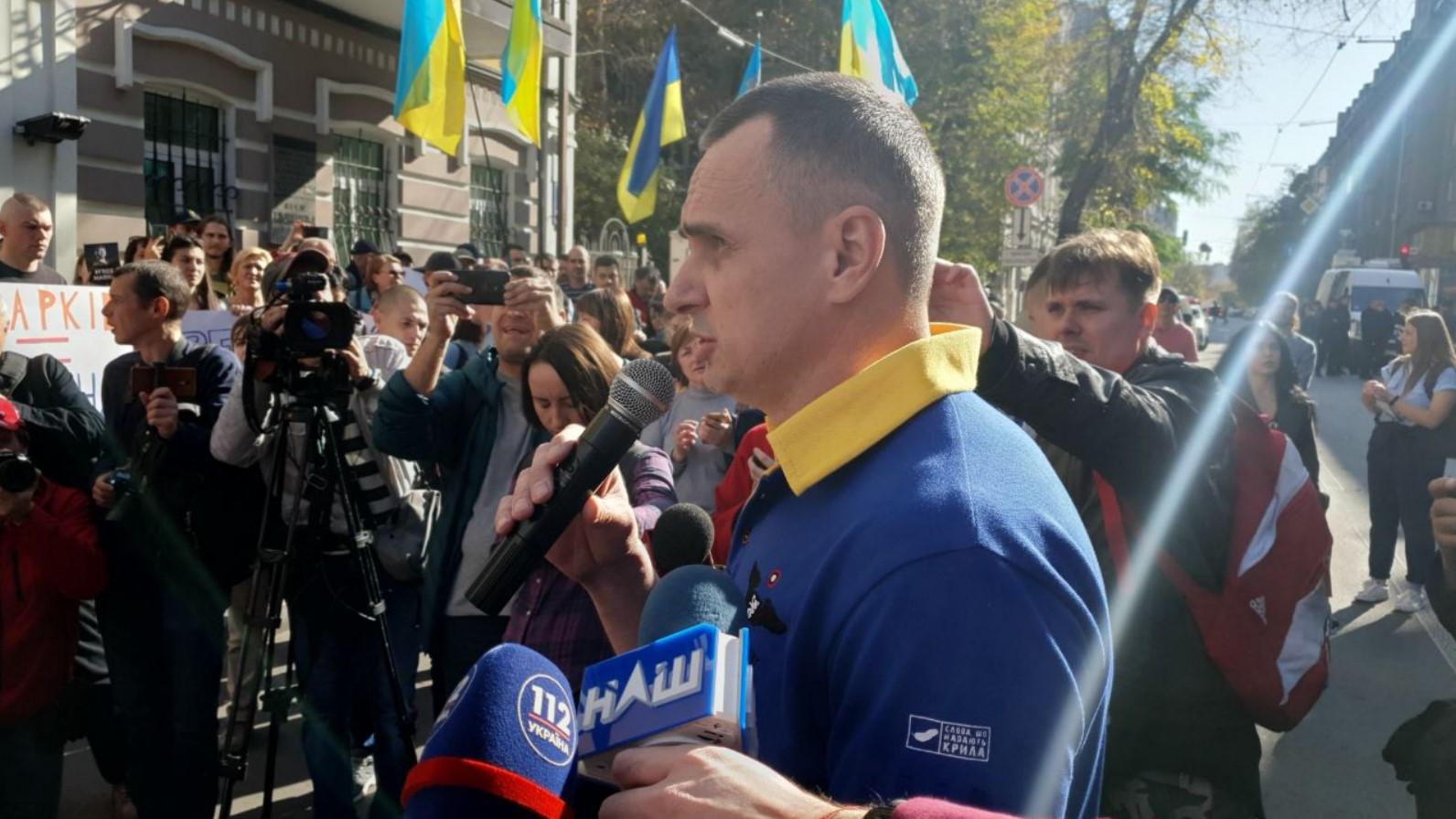 Сенцов пришел на акцию в поддержку Маркива