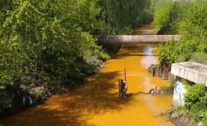 В Киеве специалисты пытаются выяснить, что окрасило реку Лыбидь в желтый цвет