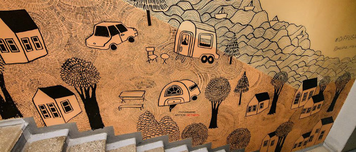 Стрит-арт художница разрисовала стены в музее Краматорска (Фото)