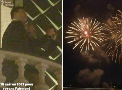 «Схемы» сняли на видео, как Николай Тищенко с женой радовались фейерверку на балконе гостиницы Fairmont